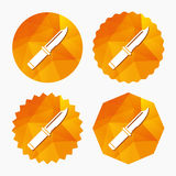 Knife sign icon. Edged weapons symbol. Stab or cut. Hunting equipment. Triangular low poly buttons with flat icon. Vector Royalty Free Stock Photo