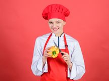 Knife skills concept. Choose proper knife. Culinary basics. Best knives to buy. Be careful while cut. Cut vegetables. Like chef. Woman professional chef hold stock images
