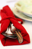 Knife and spoon and fork closeup Stock Photography