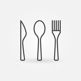 Knife, spoon and fork icon. Vector thin line restaurant or menu concept sign Royalty Free Stock Photo