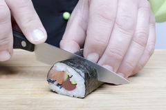 Knife and sushi Royalty Free Stock Images