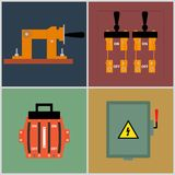 Knife Switch. Flat icons electrical circuit breaker, switch contact Royalty Free Stock Photography