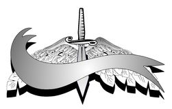 Knife with wings and scroll in black and white Royalty Free Stock Photos