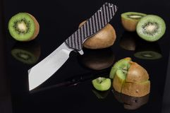 Knife with a tomahawk blade. Tomahawk knife. stock photo