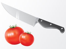 Knife and tomato vector Royalty Free Stock Images
