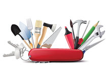 Knife with tools. All in one. Creative illustrat Royalty Free Stock Images