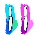 Knife vector kitchen sharp restaurant cut chef steel tool equipment Stock Images