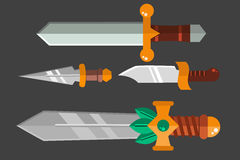 Knife weapon dangerous metallic sword vector illustration of sword spear edged set. Combat and bonder bayonet cold protection or attack steel arms. Warfare Royalty Free Stock Photo