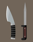 Knife weapon dangerous metallic sword vector illustration of sword spear edged set. Combat and bonder bayonet cold protection or attack steel arms. Warfare Stock Photography