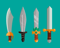 Knife weapon dangerous metallic sword vector illustration of sword spear edged set. Stock Image