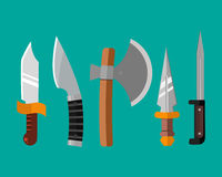 Knife weapon dangerous metallic vector illustration of sword spear edged set. Stock Images