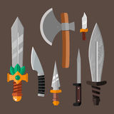 Knife weapon dangerous metallic vector illustration of sword spear edged set. Combat and bonder bayonet cold protection or attack steel arms. Warfare defense Stock Photo