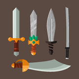 Knife weapon dangerous metallic vector illustration of sword spear edged set. Combat and bonder bayonet cold protection or attack steel arms. Warfare defense Stock Image