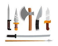 Knife weapon dangerous metallic vector illustration of sword spear edged set. Stock Photo