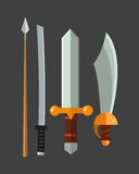 Knife weapon dangerous metallic vector illustration of sword spear edged set. Royalty Free Stock Images