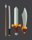 Knife weapon dangerous metallic vector illustration of sword spear edged set. Royalty Free Stock Images