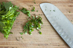 Knife on a wood board Royalty Free Stock Images