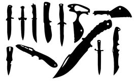 Knifes. Silhouettes - vector illustration black Royalty Free Stock Photography