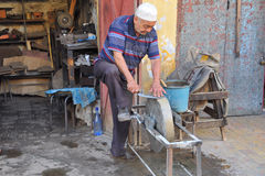 Knifes craftmanship in Morocco. Knifes craftmanship in a market of Meknes in Morocco stock image