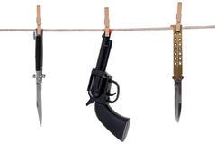 Knifes e o brinquedo lanç a suspensão sobre imagem de stock royalty free