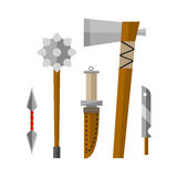 Knifes and hand weapon vector illustration. Royalty Free Stock Photo