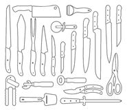 Knifes. Outlines icons Royalty Free Stock Image