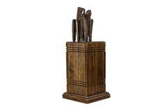 Knifes przechują w drewnianym pudełku bezpiecznie Obrazy Royalty Free