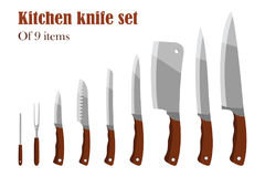 Knifes ustawiający lub Kuchenni noże Cutlery set również zwrócić corel ilustracji wektora Fotografia Stock