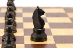 Knight стойка перед всей линией доской шахмат пешки Стоковая Фотография