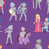 Knight характер героя шаржа с вектором солдата костюма людей ратника панцыря лошади и принцессы храбрым средневековым Стоковые Изображения