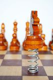 Knight. Jumps in front of chess Royalty Free Stock Images