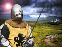 Knight. Leaving his picturesque castle Royalty Free Stock Image