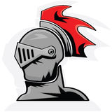 Knight. Cartoon illustration showing the head of a knight in armor Royalty Free Stock Image