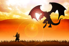 Dragon Slayer. Silhouette illustration of a knight fighting a dragon Stock Photography