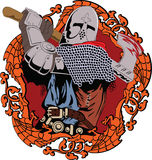 Knight. Illustration of the medieval knight swinging a fighting axe Stock Image