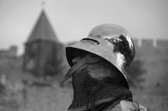 Knight. In front of fortress black white Stock Photos