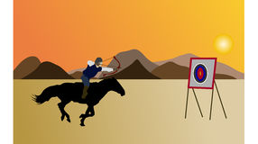 Knight and archer on the flatlands stock illustration