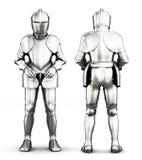 Knight a armadura na parte dianteira e isolada atrás em um fundo branco ilustração do vetor