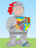 Knight in armor. Cartoon illustration of a knight wearing full armour (or armor Stock Photos