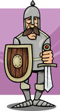 Knight in armor cartoon illustration. Cartoon Illustration of Funny Knight in Armor with Sword and Shield Royalty Free Stock Photo
