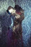Knight Armor do breastplate forte do metal da mulher feito a mão no ouro imagens de stock