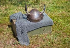 Knight armor with helmet and chain mail Royalty Free Stock Photography