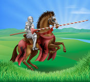 Knight in armor with jousting lance Royalty Free Stock Photo