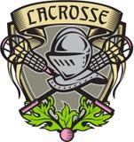Knight Armor Lacrosse Stick Crest Woodcut Stock Photo