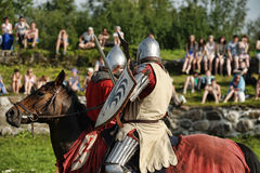 Knight in armor on the tournament Royalty Free Stock Images