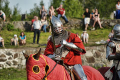 Knight in armor on the tournament Royalty Free Stock Image