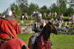 Knight in armor on the tournament Royalty Free Stock Photography