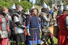 Knight in armor on the tournament Stock Photo