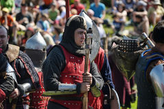 Knight in armor on the tournament Stock Photography