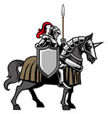 Knight with armored horse Stock Image